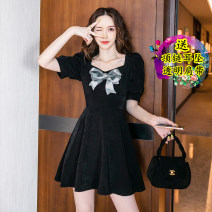 Dress Summer 2021 Black original, detachable bow S,M,L,XL Short skirt singleton  Short sleeve commute square neck High waist Solid color zipper routine Others 18-24 years old Other / other Korean version Ruffles, bows 31% (inclusive) - 50% (inclusive)