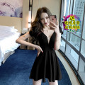 Dress Spring 2021 White, black, red S,M,L,XL Short skirt singleton  Sleeveless commute V-neck High waist Solid color zipper Big swing 18-24 years old Type A court backless 31% (inclusive) - 50% (inclusive)