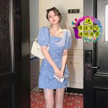 Dress Summer 2021 White, blue, black, pink S,M,L,XL Short skirt singleton  Short sleeve commute square neck Solid color bishop sleeve 18-24 years old BEGINNING Korean version Pleating cotton
