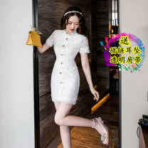 Dress Summer 2021 White heavy industry lace skirt S,M,L,XL Short skirt singleton  Short sleeve commute High waist Solid color zipper One pace skirt other 18-24 years old Type H Korean version Lace Lace