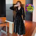 Dress Spring 2021 Black original S,M,L,XL Mid length dress singleton  Long sleeves commute V-neck High waist Solid color Big swing 18-24 years old Korean version