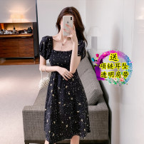 Dress Summer 2021 Original customization S,M,L,XL Mid length dress singleton  Short sleeve commute square neck High waist Solid color zipper Ruffle Skirt routine Others 18-24 years old Other / other Korean version Lotus leaf edge 31% (inclusive) - 50% (inclusive)