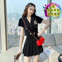 Dress Summer 2021 Black original two piece set S,M,L,XL Short skirt Two piece set Short sleeve commute Solid color 18-24 years old Korean version
