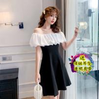Dress Summer 2021 black S,M,L,XL Short skirt singleton  commute One word collar middle-waisted 18-24 years old Korean version