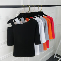 T-shirt Red, orange, black, gray, white M. L, XL, pay attention to the store and give small gifts Spring of 2019 elbow sleeve Slant collar Self cultivation Regular routine commute cotton 86% (inclusive) -95% (inclusive) 25-29 years old Korean version youth Solid color Hani tide 8802? Solid