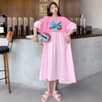 Dress Summer 2020 Purple, pink One size fits all [recommended 100-280 kg] Mid length dress singleton  Short sleeve commute Crew neck Loose waist Cartoon animation Socket routine Other / other Korean version Resin fixation cotton