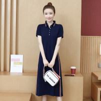 Dress Summer 2020 Blue, black S,M,L,XL,2XL,3XL longuette singleton  Short sleeve commute Polo collar Loose waist Socket Type H Korean version 81% (inclusive) - 90% (inclusive) cotton