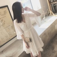 Dress Summer of 2019 White lace patchwork dress S collection orders for small gifts, m collection orders for small gifts, l collection orders for small gifts, XL collection orders for small gifts Short skirt singleton  elbow sleeve commute V-neck High waist Solid color zipper A-line skirt Others