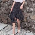 skirt Summer of 2018 S,M,L,XL Black, white Mid length dress commute High waist Irregular Dot Type A 18-24 years old 1801# 51% (inclusive) - 70% (inclusive) Chiffon other zipper Korean version