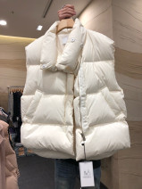 Vest Winter of 2019 White, pink, dark dark green S,M,L,XL have cash less than that is registered in the accounts stand collar commute Solid color zipper other polyester fiber pocket 80% - 89% white duck down