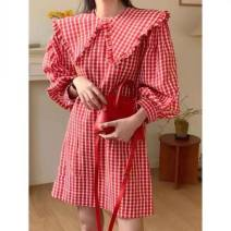 Dress Spring 2021 Red (spot continued), black (spot continued) Average size Short skirt singleton  Short sleeve commute V-neck High waist Solid color Socket A-line skirt routine Others 25-29 years old Type A Stitching, folding More than 95% other polyester fiber
