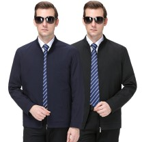 Jacket Qing Yi Gu Bang Bao Business gentleman Black, dark blue 170/84A,175/88A,180/92A,185/96A,190/100A,195/104A routine standard Other leisure autumn Long sleeves Wear out stand collar Business Casual routine Zipper placket Cloth hem No iron treatment Solid color other