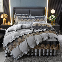 Bedding Set / four piece set / multi piece set Polyester (polyester fiber) Quilting, embroidery Solid color other Ruo Tong Polyester (polyester fiber) 4 pieces other Sapphire blue, spring green, peach powder, warm apricot, crystal violet, star grey, rouge powder, smoked violet Bed skirt Nordic style
