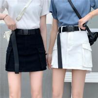 skirt Summer 2020 S (90-100 Jin), m (100-110 Jin), l (110-120 Jin), XL (120-135 Jin), 2XL (135-150 Jin), 3XL (150-165 Jin), 4XL (165-175 Jin), 5XL [175-200 Jin] White, black Short skirt commute High waist A-line skirt Type A 18-24 years old Denim Coardiarn / Kuandian Korean version