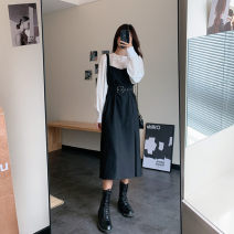 Dress Autumn 2020 Shirt + suspender skirt (with belt) S [90-100kg], m [100-110kg], l [110-120kg], XL [120-135kg], 2XL [135-150kg], 3XL [150-165kg], 4XL [165-175kg], 5XL [175-200kg] Mid length dress Two piece set Long sleeves commute Crew neck High waist Solid color Socket A-line skirt other Type A