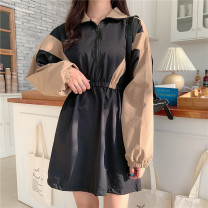 Dress Autumn 2020 Picture color S [90-100 kg], m [100-110 kg], l [110-120 kg], XL [120-135 kg], 2XL [135-150 Jin], 3XL [150-165 kg], 4XL [165-175 Jin], 5XL [175-200 Jin] Short skirt singleton  Long sleeves commute Polo collar High waist A-line skirt other 18-24 years old Type A Korean version zipper