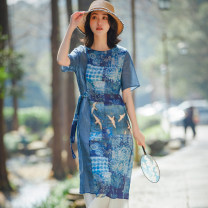 Dress Summer 2020 blue M, L Middle-skirt singleton  Short sleeve commute Crew neck middle-waisted other Socket other other Others 25-29 years old Type H ethnic style Stitching, strapping, printing 2831-021 More than 95% other hemp