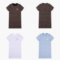 Dress Summer 2021 Black, blue, white XS,S longuette singleton  Short sleeve commute Crew neck middle-waisted lattice Socket A-line skirt routine 25-29 years old Type H MLB printing 31OP04111-50S cotton