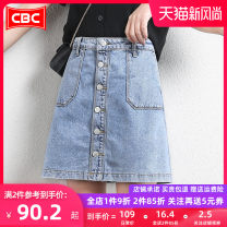 skirt Summer 2021 S M L XL XXL 3XL 4XL Middle-skirt Versatile High waist A-line skirt Solid color Type A 25-29 years old More than 95% Denim COBCBC cotton Pocket button Cotton 100% Same model in shopping mall (sold online and offline)