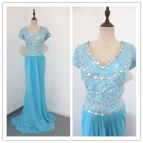 Dress / evening wear Wedding adult party company annual meeting performance Waist 98cm Lake blue Chemical fiber Chiffon