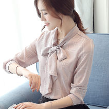 shirt Light purple, white, pink S,M,L,XL,2XL Spring 2021 other 81% (inclusive) - 90% (inclusive) Long sleeves commute Regular Scarf Collar Single row multi button shirt sleeve lattice 25-29 years old Straight cylinder Korean version XYS6141 Bowknot, lace up, stitching Chiffon