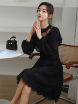 Dress Spring 2021 black S,M,L,XL Short skirt singleton  Long sleeves commute Crew neck High waist Solid color Socket A-line skirt routine Hanging neck style 25-29 years old Type A Korean version 31% (inclusive) - 50% (inclusive) Chiffon polyester fiber