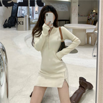 Dress Winter 2020 Apricot, black S. M, l, XL, collection plus purchase, priority delivery, small gifts Mid length dress singleton  Long sleeves street Crew neck High waist Solid color zipper A-line skirt Asymmetry