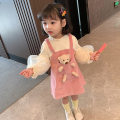 Dress Pink Bear dress female Other / other 90cm,100cm,110cm,120cm,130cm Other 100% spring and autumn Korean version Long sleeves Solid color cotton A-line skirt Class B 12 months, 18 months, 2 years old, 3 years old, 4 years old, 5 years old, 6 years old Chinese Mainland Zhejiang Province