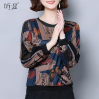Lace / Chiffon Autumn of 2019 Picture color M,L,XL,2XL,3XL Long sleeves Versatile Socket singleton  easy Super short Crew neck Decor bishop sleeve 30-34 years old 81% (inclusive) - 90% (inclusive) polyester fiber