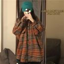 Women's large Spring 2021 Retro Orange S (75-95 kg), m (95-105 kg), l (105-120 kg), XL (120-140 kg), 2XL (140-160 kg), 3XL (160-180 kg), 4XL (180-200 kg) shirt singleton  commute easy moderate Cardigan Long sleeves lattice Korean version Polo collar Medium length other Three dimensional cutting