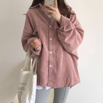 Women's large Autumn 2020 Blue, skin pink S (75-95 kg), m (95-105 kg), l (105-120 kg), XL (120-140 kg), 2XL (140-160 kg), 3XL (160-180 kg), 4XL (180-200 kg) Jacket / jacket singleton  commute easy moderate Cardigan Long sleeves Solid color Korean version Polo collar Medium length other routine Button