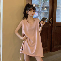 Women's large Summer 2020 Apricot, pink S (75-95 Jin), m (95-105 Jin), l (105-120 Jin), XL (120-140 Jin), 2XL (140-160 Jin), 3XL (160-180 Jin) T-shirt singleton  commute easy moderate Socket Sleeveless Solid color Korean version Crew neck Medium length other Three dimensional cutting 18-24 years old