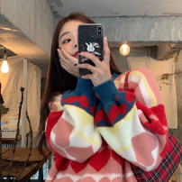 Women's large Autumn 2020 Picture color S (75-95 kg), m (95-105 kg), l (105-120 kg), XL (120-140 kg), 2XL (140-160 kg), 3XL (160-180 kg), 4XL (180-200 kg) sweater singleton  commute easy moderate Socket Long sleeves shape Korean version Crew neck routine other routine 18-24 years old