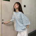 Women's large Summer 2020 Blue stripe, black stripe, pink stripe, red stripe S (75-95 kg), m (95-105 kg), l (105-120 kg), XL (120-140 kg), 2XL (140-160 kg), 3XL (160-180 kg), 4XL (180-200 kg) T-shirt singleton  commute easy moderate Socket three quarter sleeve stripe Korean version Crew neck other