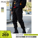 Casual pants Peacebird Youth fashion S M L XL XXL XXXL XXXXL routine trousers Other leisure Straight cylinder No bullet spring youth Youthful vigor 2021 middle-waisted Little feet Cotton 100% Overalls Pocket decoration Solid color cotton Spring 2021 More than 95%