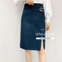 skirt Spring 2021 L green Mid length dress commute High waist A-line skirt Solid color Type H 25-29 years old 51% (inclusive) - 70% (inclusive) other other Three dimensional decoration Ol style