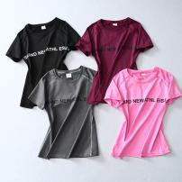 Yoga T-shirt female sex Other / other M, S Black, pink, fuchsia summer other Summer 2020 Short sleeve Tight fitting