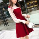 Dress Autumn of 2018 Black + apricot, red + apricot, black + black S,M,L,XL,2XL,3XL,4XL Middle-skirt Two piece set Long sleeves commute Half high collar Solid color bishop sleeve camisole Type A Other / other Korean version Hollow out, bright silk, lace up