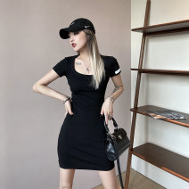 Dress Summer 2021 Black spot, black reservation, white spot, white reservation Average size Short skirt singleton  Short sleeve commute Crew neck High waist Solid color Socket other Others Type A IAMCPLUS Simplicity W963752 81% (inclusive) - 90% (inclusive) other cotton