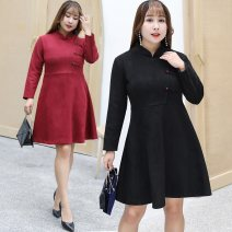 Women's large Autumn 2020 Black red pink Dress singleton  commute easy moderate Socket Long sleeves Solid color ethnic style other polyester fiber Three dimensional cutting routine Nuozhu 25-29 years old 96% and above Medium length Polyethylene terephthalate (polyester) 100%