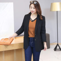 Women's large Autumn 2020 black Large XL (120-150 kg recommended) large 2XL (150-170 kg recommended) large 3XL (170-200 kg recommended) large 4XL (200-250 kg recommended) suit singleton  commute easy moderate Cardigan Long sleeves Solid color Ol style Polo collar routine Polyester chloroprene fiber