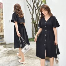 Dress Summer 2020 black XL 2XL 3XL 4XL longuette singleton  Short sleeve commute V-neck High waist Solid color Single breasted A-line skirt Lotus leaf sleeve 25-29 years old Type A Nuozhu Korean version Button NZ20-K992 More than 95% polyester fiber Polyethylene terephthalate (polyester) 100%