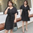 Women's large Summer of 2019 Large XL Large 2XL large 3XL large 4XL Dress singleton  commute easy thin Socket Short sleeve lattice literature V-neck polyester Three dimensional cutting other Nuozhu 25-29 years old belt 96% and above Medium length Polyester 100% Pure e-commerce (online only) bow