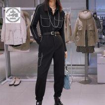 Suit pants / suit pants XS,S,M,L,XL black Spring 2021 High waist trousers routine A2FBB110189 25-29 years old Bella cara cotton