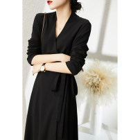 Dress Spring 2021 Black S,M,L,XL Middle-skirt singleton  Long sleeves commute V-neck High waist Solid color other A-line skirt routine Others Xhange / Xiaohan Pavilion Ol style Lace up, stitching QZU380595AG 51% (inclusive) - 70% (inclusive) other