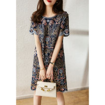 Dress Spring 2021 Navy blue S (May 30), m (May 30), l (May 5), XL (May 30) Middle-skirt singleton  Long sleeves commute Crew neck Solid color Socket routine Xiaohan Pavilion Ol style Embroidery, crochet, hollow out, pocket, stitching, zipper QZP480143MG More than 95% cotton