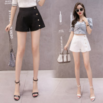 Casual pants Black and white S M L XL 2XL Summer 2021 shorts Wide leg pants High waist commute routine 25-29 years old Yixinhan-54551 Yalai Poetry polyester fiber Korean version pocket polyester fiber Polyester 100% Pure e-commerce (online only) Asymmetry