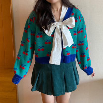 Women's large Winter 2021 Blue green Yintao spot second hair, red Yintao spot second hair It's 90-130 Jin for one yard, 130-150 Jin for two yards sweater singleton  Sweet easy Cardigan Long sleeves Plants and flowers V-neck routine routine 18-24 years old Button 31% (inclusive) - 50% (inclusive)