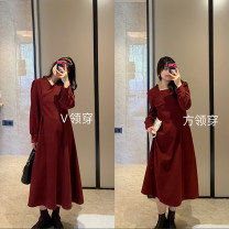 Women's large Spring 2021 Red dress and blue dress, red dress and blue dress are on sale, blue dress and red dress are on sale Large XL, large XXL, large XXL, large L Dress singleton  commute Socket Long sleeves Solid color Crew neck Polyester, cotton routine 18-24 years old longuette
