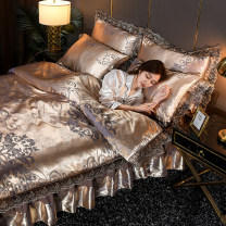 Bedding Set / four piece set / multi piece set Others Quilting Plants and flowers 133x72 Other / other ramie 4 pieces 60 1.5X2m bed: quilt cover 2mx2.3m four piece set, 1.8x2m bed: quilt cover 2mx2.3m four piece set, 2x2.2m bed: quilt cover 2.2mx2.4m four piece set Bed skirt Qualified products
